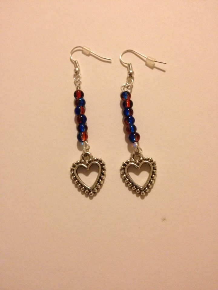 Heart earrings with red/blue beads.