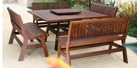 Jensen Leisure Amber Patio Set Outdoor Wood Furniture Wooden Patio Furniture Rustic Garden Furniture
