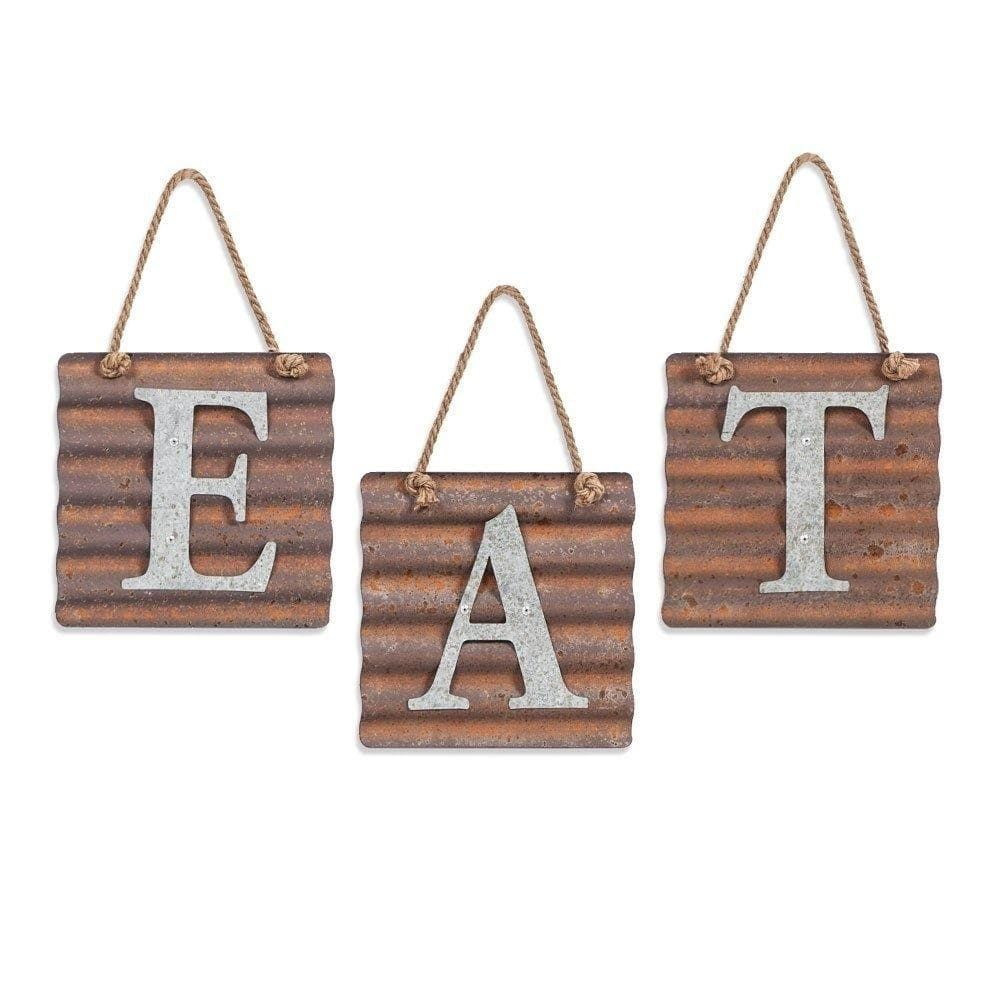 EAT Wall Metal Plaque Sign Eat Letter Sign Wavy Metal Plate for ...