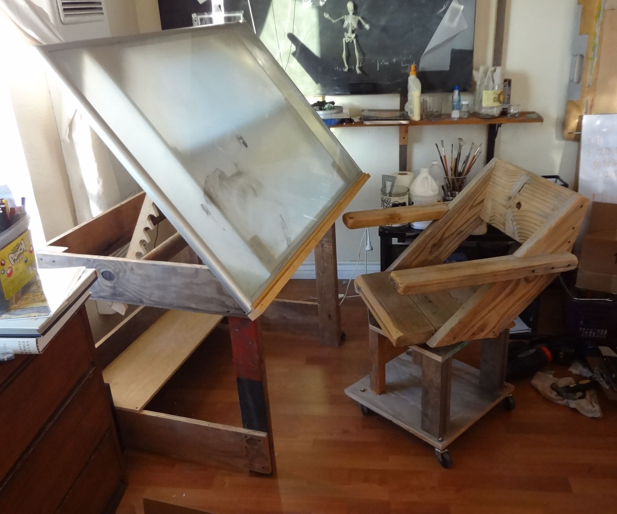 A Drafting Table Made From An Ikea Coffee Table Ikea Coffee Table Drafting Table Portable Drafting Table [ 1750 x 2100 Pixel ]