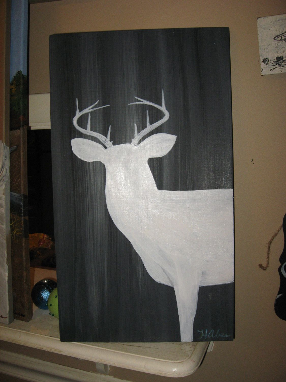 Deer Painting on Wood Barn Wood Painting Rustic Art Man Cave Deer Antlers Wildlife Animals Cabin Decor Woodland Hunting Buck