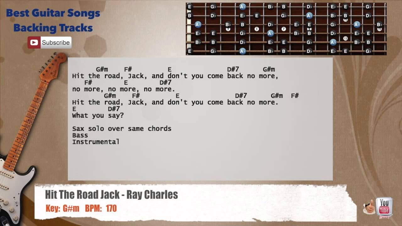 Hit The Road Jack Ray Charles Guitar Backing Track With Scale