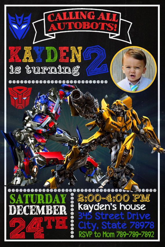 Transformers Birthday, Transformers Invitation, Transformers Party ...