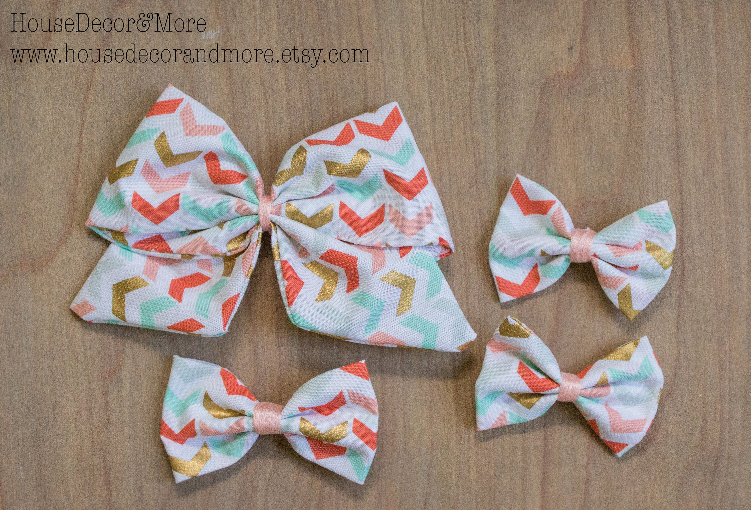 Pink Gold and Mint Arrow Pattern Fabric Hair Bows - Girls Fabric Hair Bow - Toddler Fabric Hair Bows - Birthday Hair Bows