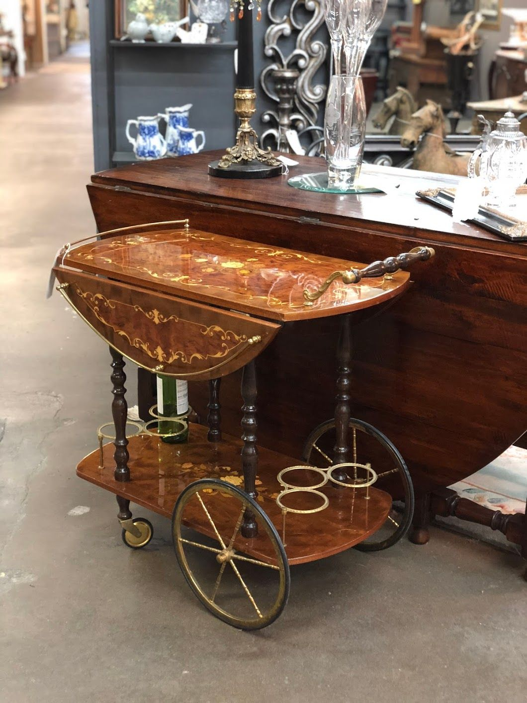 Vintage Italian Floral Drop Side Bar or Tea Cart On Sale With Brass Accents  31