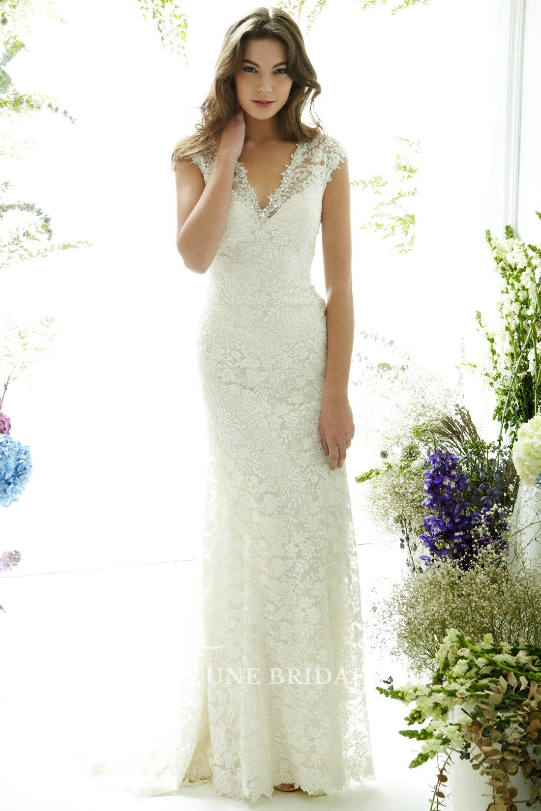 Maternity wedding dress with sleeves  FloorLength VNeck CapSleeve Lace Wedding Dress With Brush Train