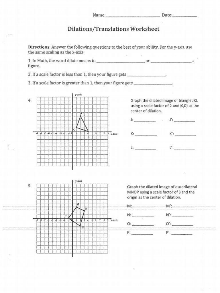 Dilations Worksheet With Answers Dilations Translations Ws 2020