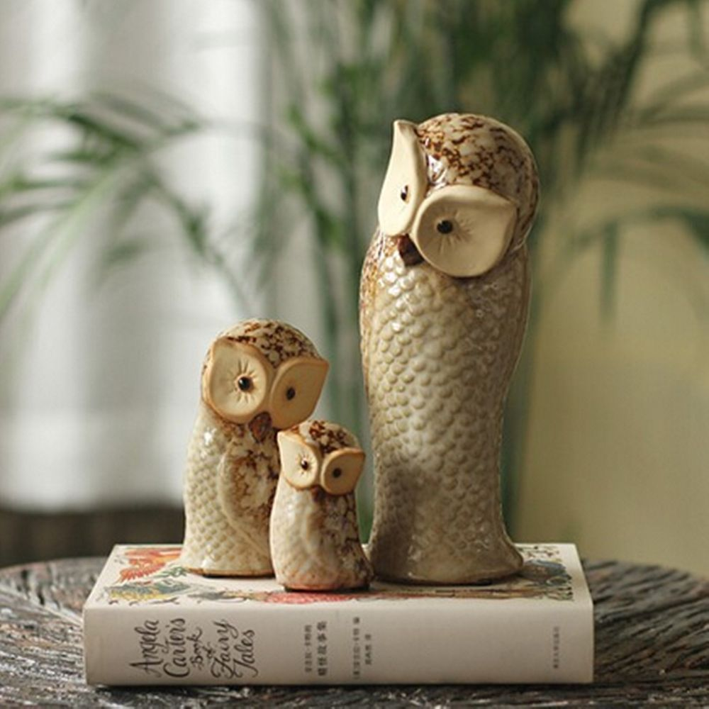 3 Ceramic Owl Statue Bird Figurines Owls Ornaments Home Garden Decor  Wedding New
