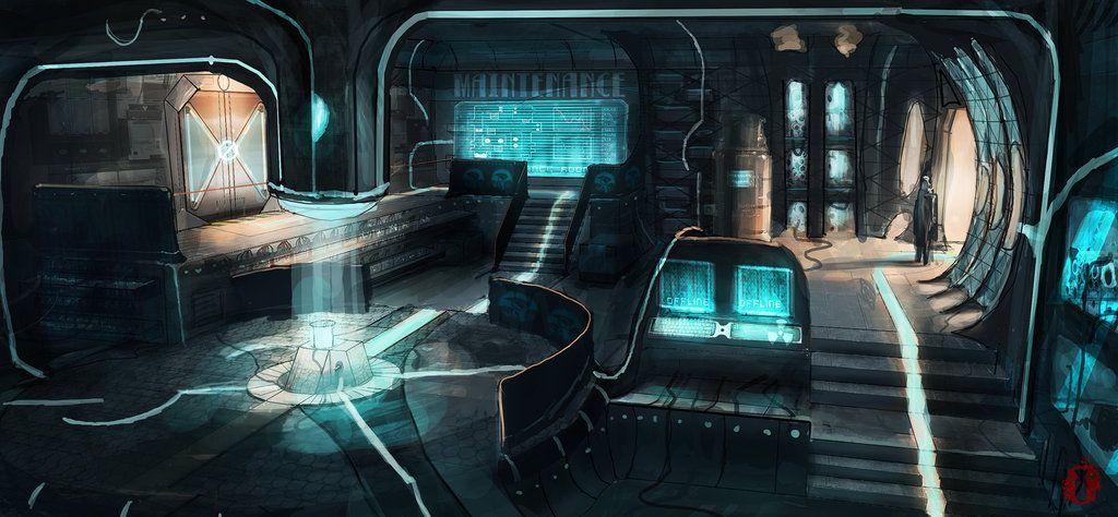 Cyberpunk future futuristic maintenance room updated by for Cyberpunk interior design