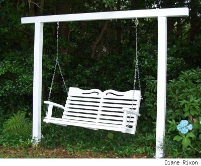 garden swings on freestanding wooden swing seat in a garden painted rh pinterest com
