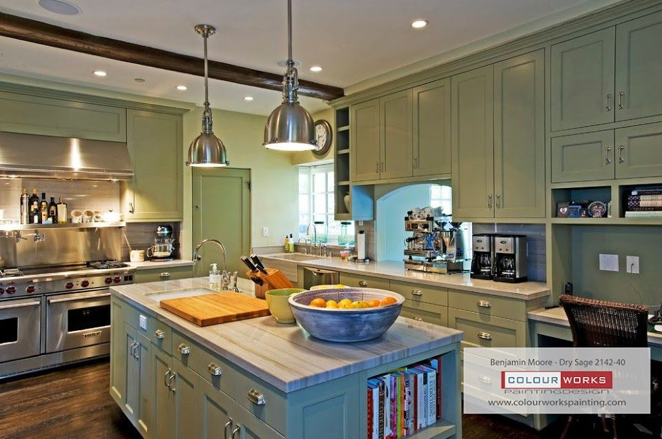 Kitchen Cabinetry Updated By Painting Them In Beautiful Paint By Benjamin Moore Dry Sage Green Kitchen Cabinets Kitchen Cabinet Design Beige Kitchen Cabinets