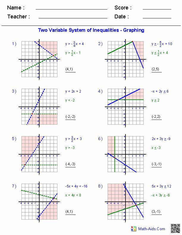 50 Systems Of Equations Worksheet in 2020 | Graphing ...