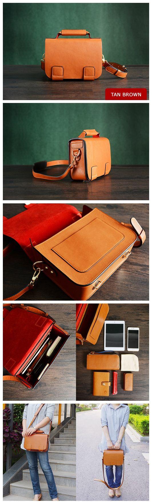 Custom Handmade Italian Vegetable Tan Brown Leather Satchel Bag, Messenger Bag, Shoulder Bag D002