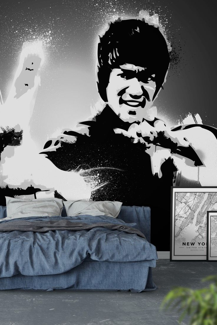 Bruce Lee Black And White Wall Mural Wallpaper Movies