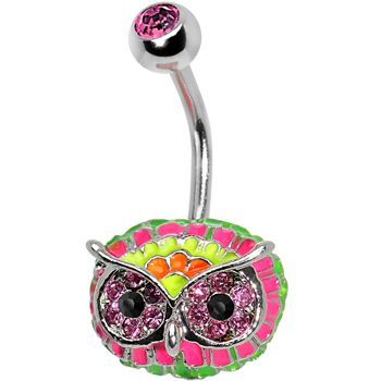 Pink Gem with Multi Neon Feathers Owl Face Belly Ring #bodycandy #piercing #neon #owl #bellyring #trending