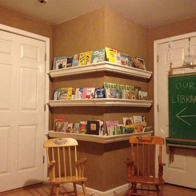 Bookshelves My Husband Made From Vinyl Gutters. Makes It