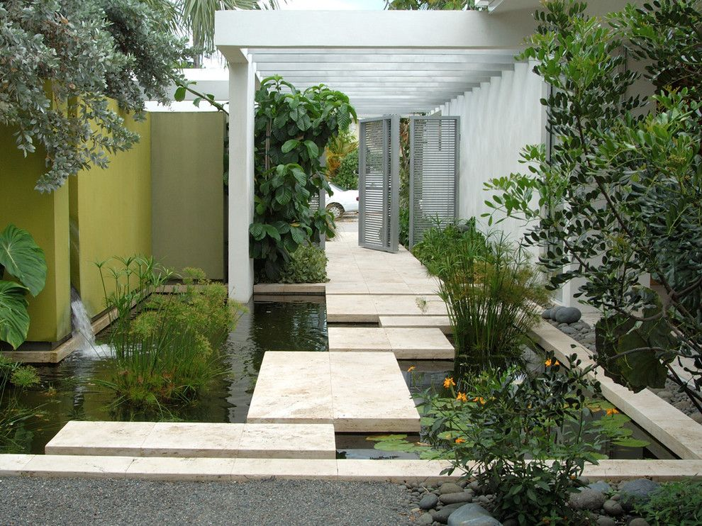 sensational design contemporary landscaping ideas. Sensational Raymond Waites decorating ideas for Landscape Contemporary  design with aquatic garden entrance