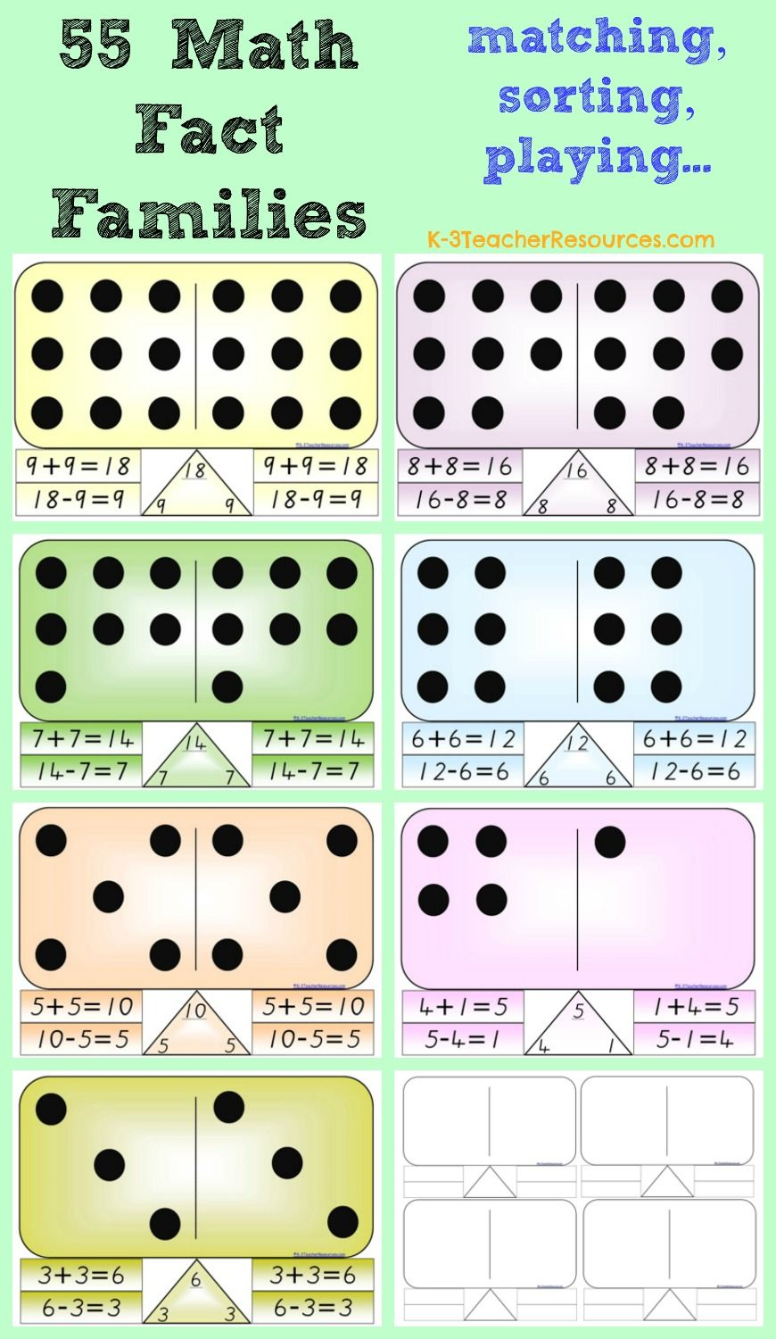 55 Math Fact Families - cut up and match, sort and play dominoes ...