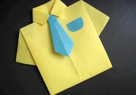 Camisa De Origami Para El Dia Del Padre Manualidades Infantiles Origami Para El Dia Del Padre Camisa De Origami Dia Del Padre