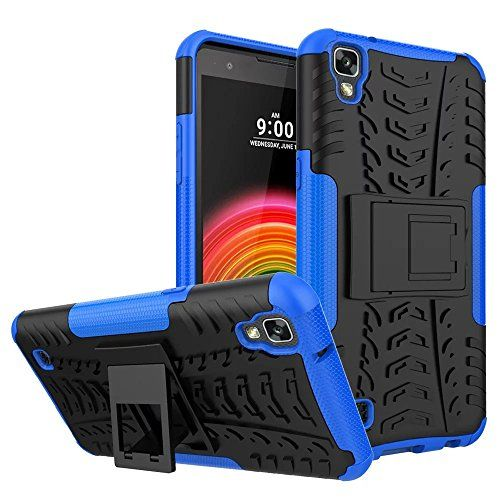 LG X Power Case, MCUK Heavy Duty Rugged Dual Layer - Soft/Hard Shell 2 in 1 Tough Protective Cover Case with Kickstand for LG X Power (Blue)
