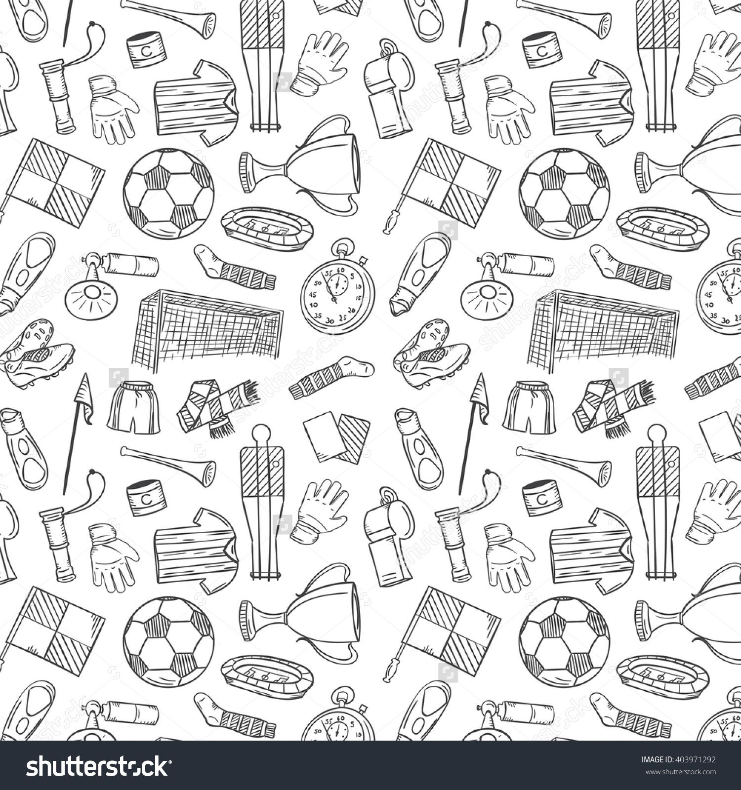 Sports Pattern With Soccer Football Symbols In Hand Draw Style Vector Illustration 403971292 Shutterstock How To Draw Hands Symbols Pattern