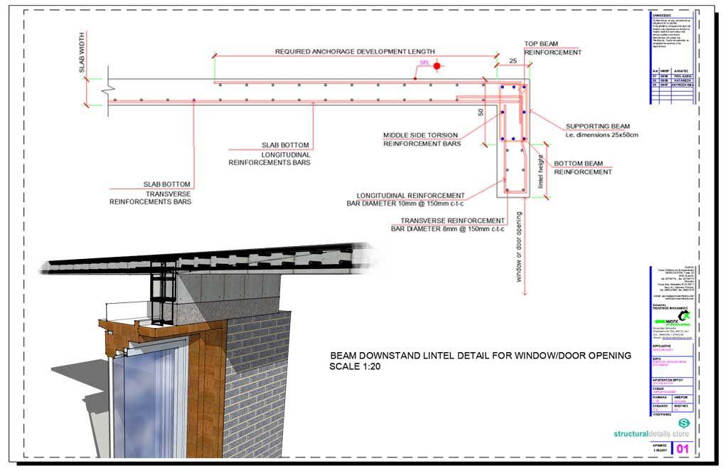 Reinforcement Detail Of A Downstand Concrete Beam Lintel For Door Window Opening Reinforced Concrete Windows And Doors Concrete Retaining Walls