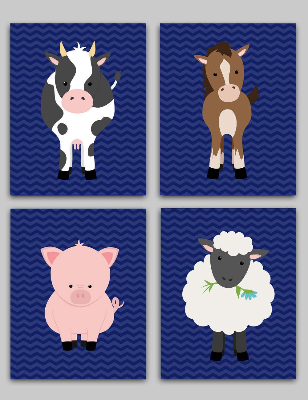 Farm Animal Nursery Decor Children S Prints Baby Cow Horse Pig