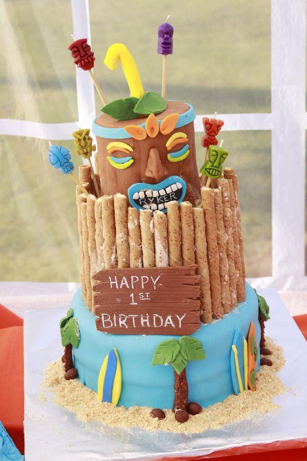 Love This Tiki Cake Party Pinterest Hawaiian Luau