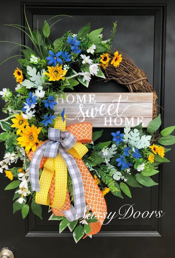 Photo of Spring Wreath, Spring Front Door Wreath, Gift for Mom, SassyDoors Wreath, Mother's Day Gift Idea, Wedding Gift