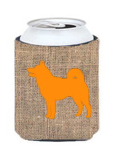 Shiba Inu Burlap and Orange Can or Bottle Beverage Insulator Hugger
