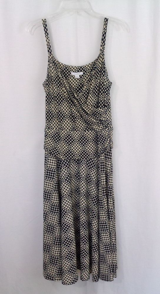 Womens DRESSBARN Blue Tan Geo Circle Print Wrap Chest Stretch Knit Dress Size 8 #dressbarn #EmpireWaist #CasualWeartoWork