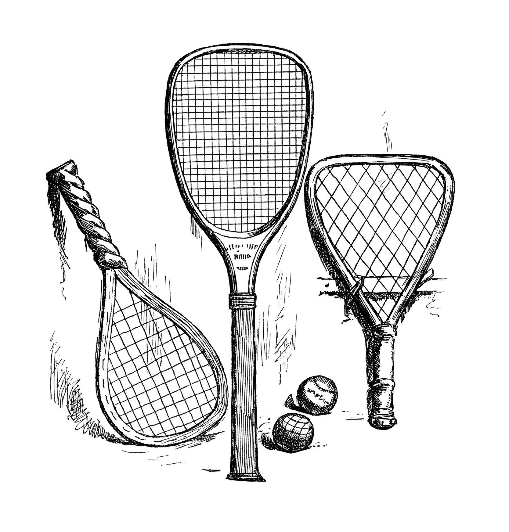 Vintage Tennis Clip Art Antique Sports Racket Black And