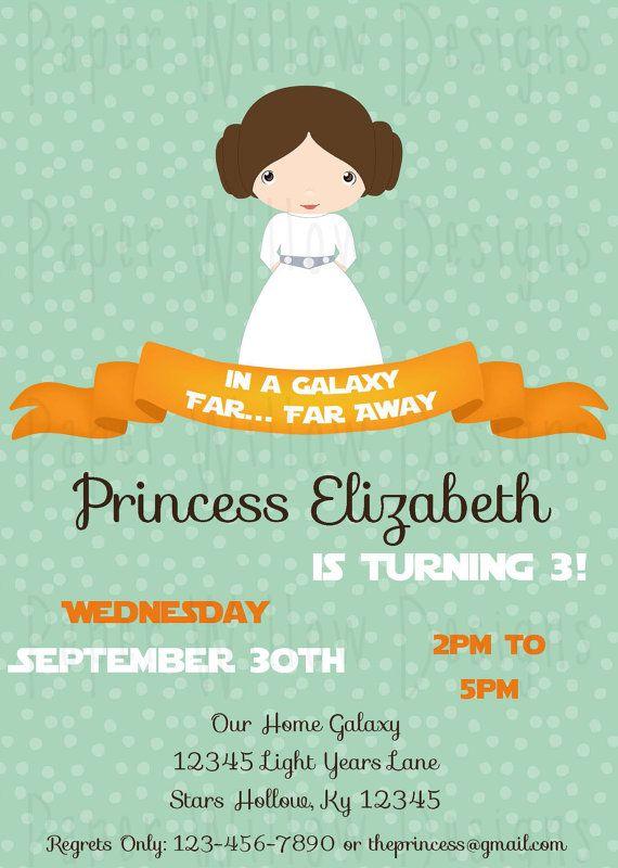 Princess Leia Birthday Printable Invitation Print Yourself INSTANT