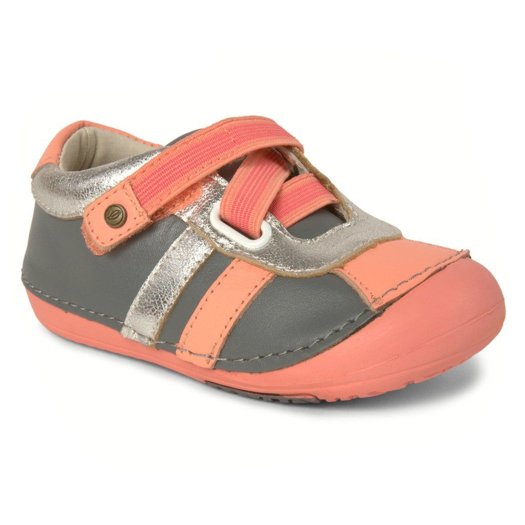 afe274ad9557 Momo Baby Girls Leather Shoes - Z-Strap Sneaker Gray Peach (First Walker    Toddler)