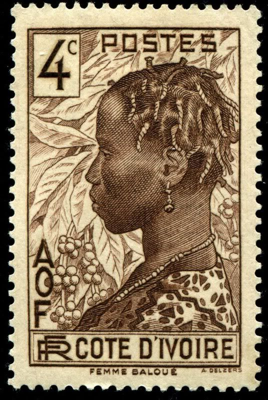Ivory Coast 1936-1944 engraved by Delzers