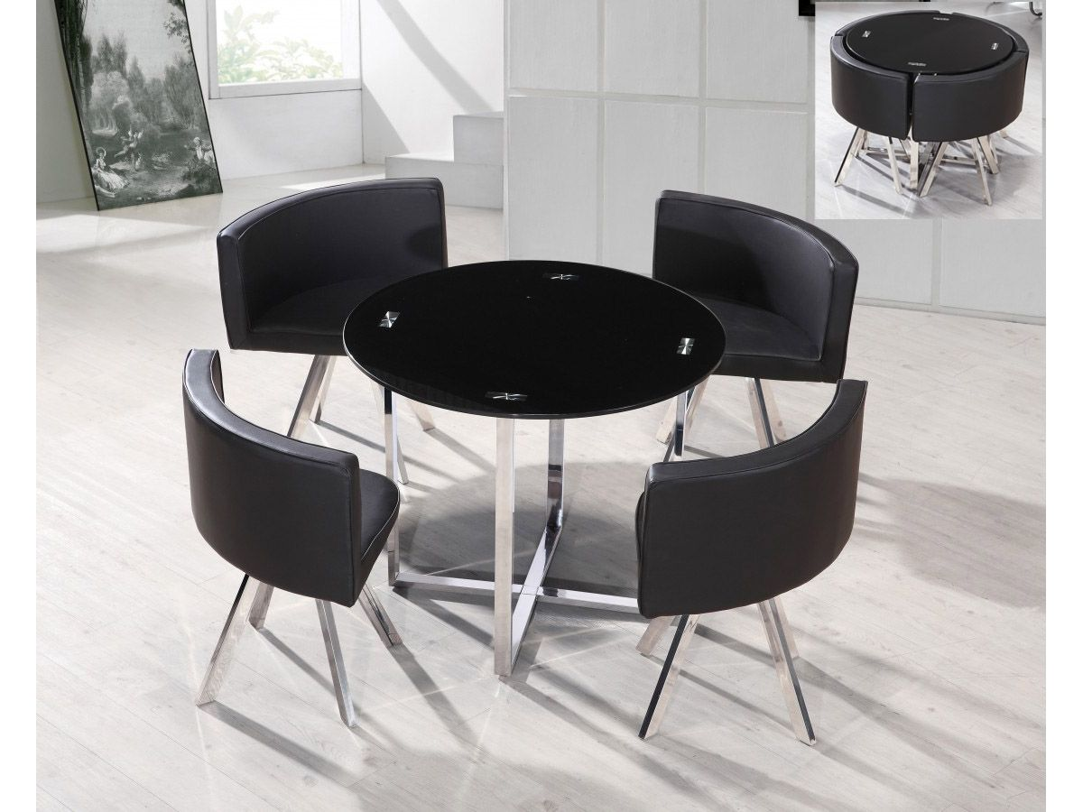 Gloss stowaway dining table and chairs at oak furniture superstore - Room Space Saving Dining Table And Chairs Black