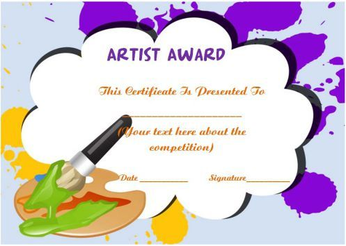 Artist Of The Year Certificate Template Art Certificate Templates