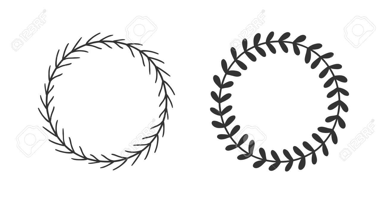 Photo of Handgezeichneter Kranz für Designzwecke. Schwarzer Vektor kritzelt Blumen auf weißem Hintergrund …