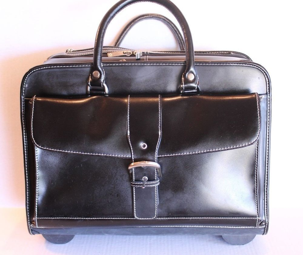 Franklin Covey Black Leather Rolling
