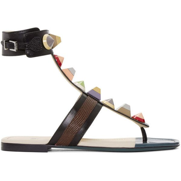 Fendi Black Rainbow Thong Sandals (2,620 ILS) ❤ liked on Polyvore featuring shoes, sandals, black, multi colored sandals, stacked heel sandals, strappy thong sandals, studded sandals and multi color sandals