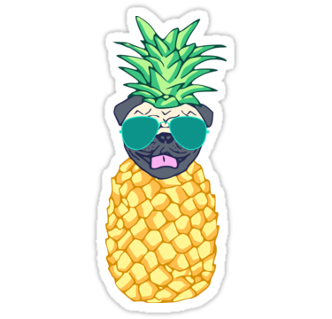 Pineapple pug sticker by fandomizedrose
