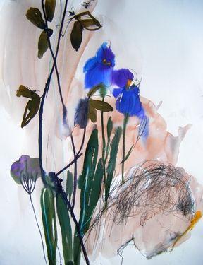 "Saatchi Art Artist Fotini Hamidieli; Drawing, ""blue flowers"" #art"