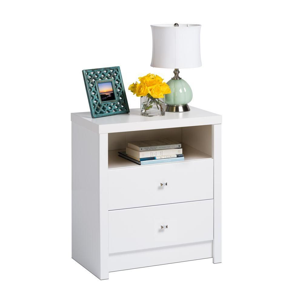 Prepac Calla 2Drawer White Nightstand is part of Nightstand Drawer Organization - Inspired by chic cosmopolitan design, the Calla Collection blends modern lines and elegant details  The Tall 2Drawer Nightstand is finished in pure white laminate and features diamond cut chrome knobs  Not content to get by on looks alone, this Nightstand offers two sizeable drawers and an open shelf to meet your bedroom storage and organizational needs