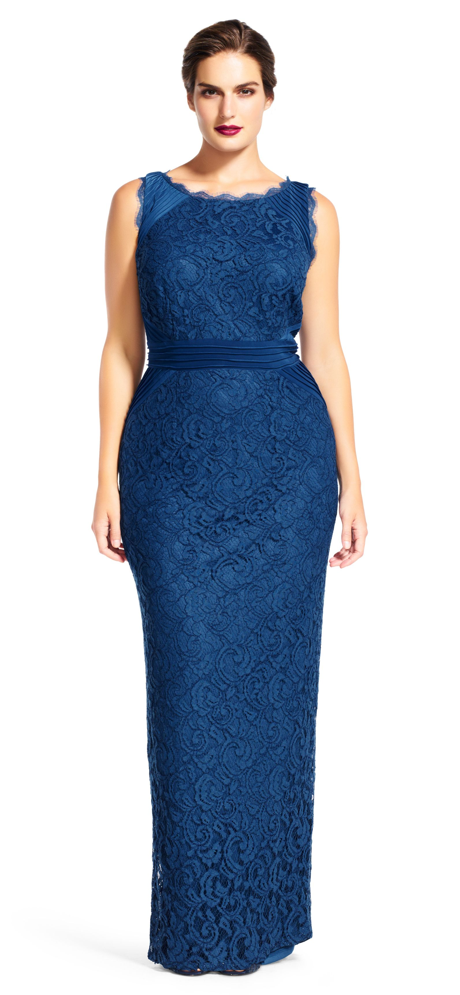 Adrianna Papell sleeveless lace and jersey gown with pintucked ...