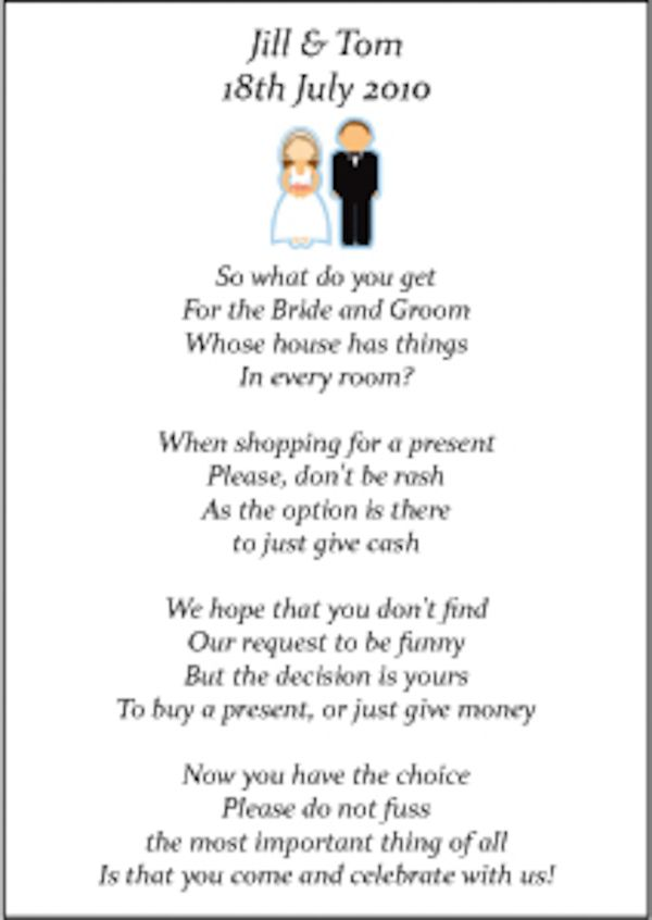Money poems instead of a registry invite poem for What to ask for wedding registry