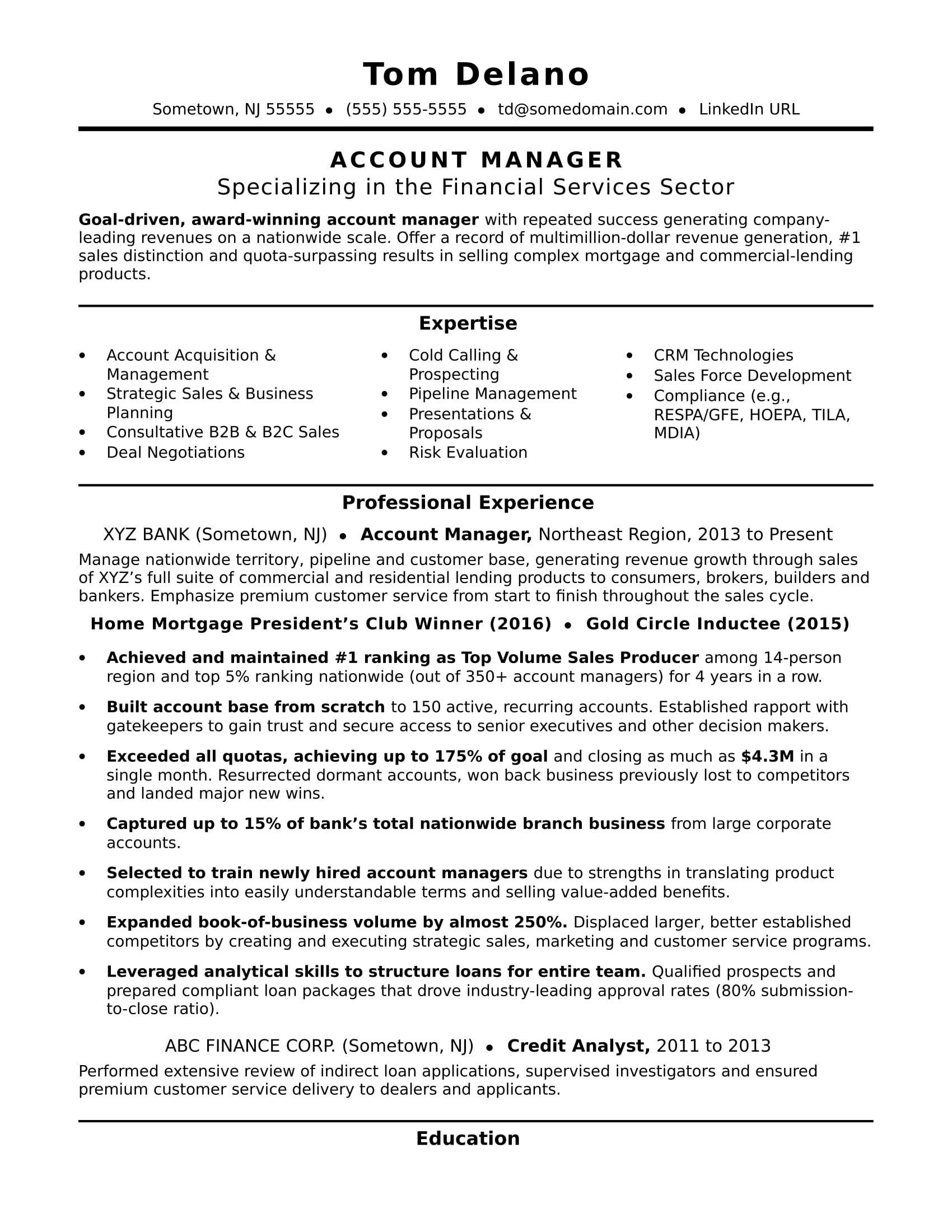 Account Manager Resume Sample Accounting Manager Manager Resume Job Resume Template