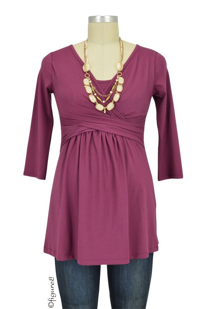 cf45320e91a4a Tami 3/4 Sleeve Wrap Nursing Top in Wood Violet. Please use coupon code  NewProducts to receive 15% off these items. To receive the discount, please  place ...
