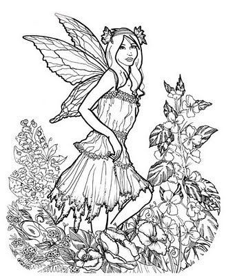very detailed fairy coloring pages - Google Search | ADULT COLORING ...