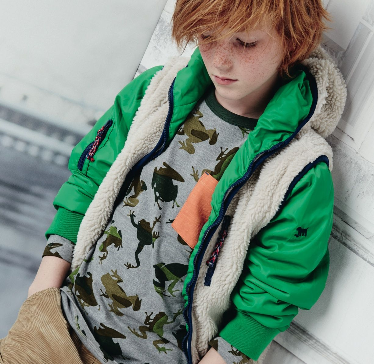 boys get a fun camouflage frog print new for fall winter
