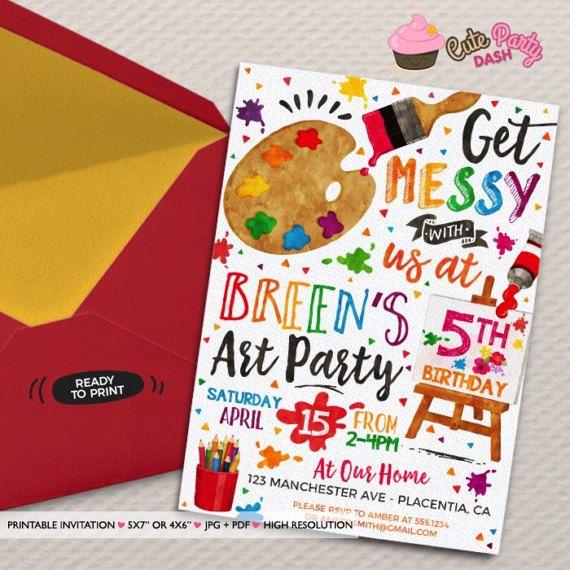 Art Party Birthday Invitation Diy Painting Birthday